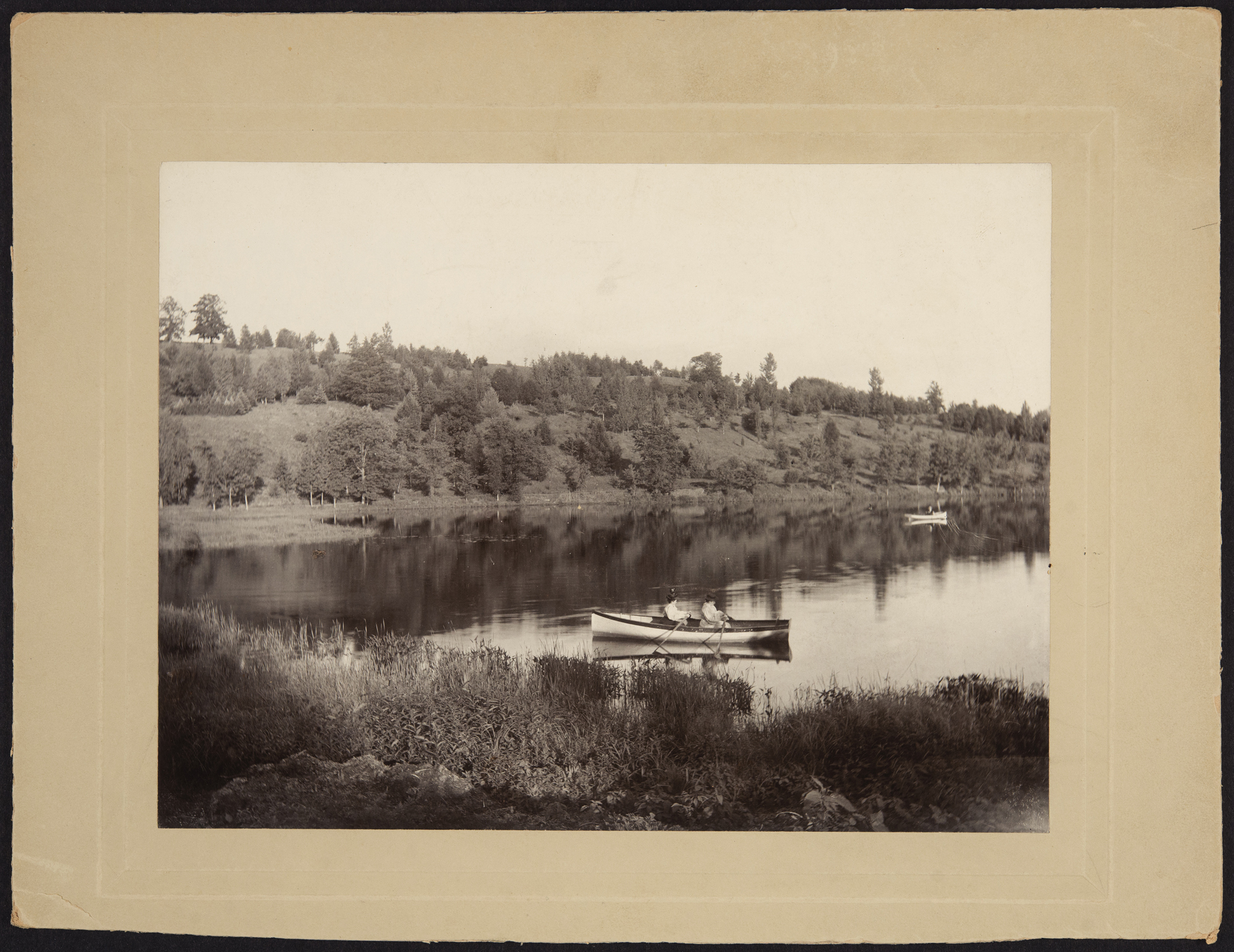 Canoeists on Lake Nonotuck below Goodnow Park, 1896-97