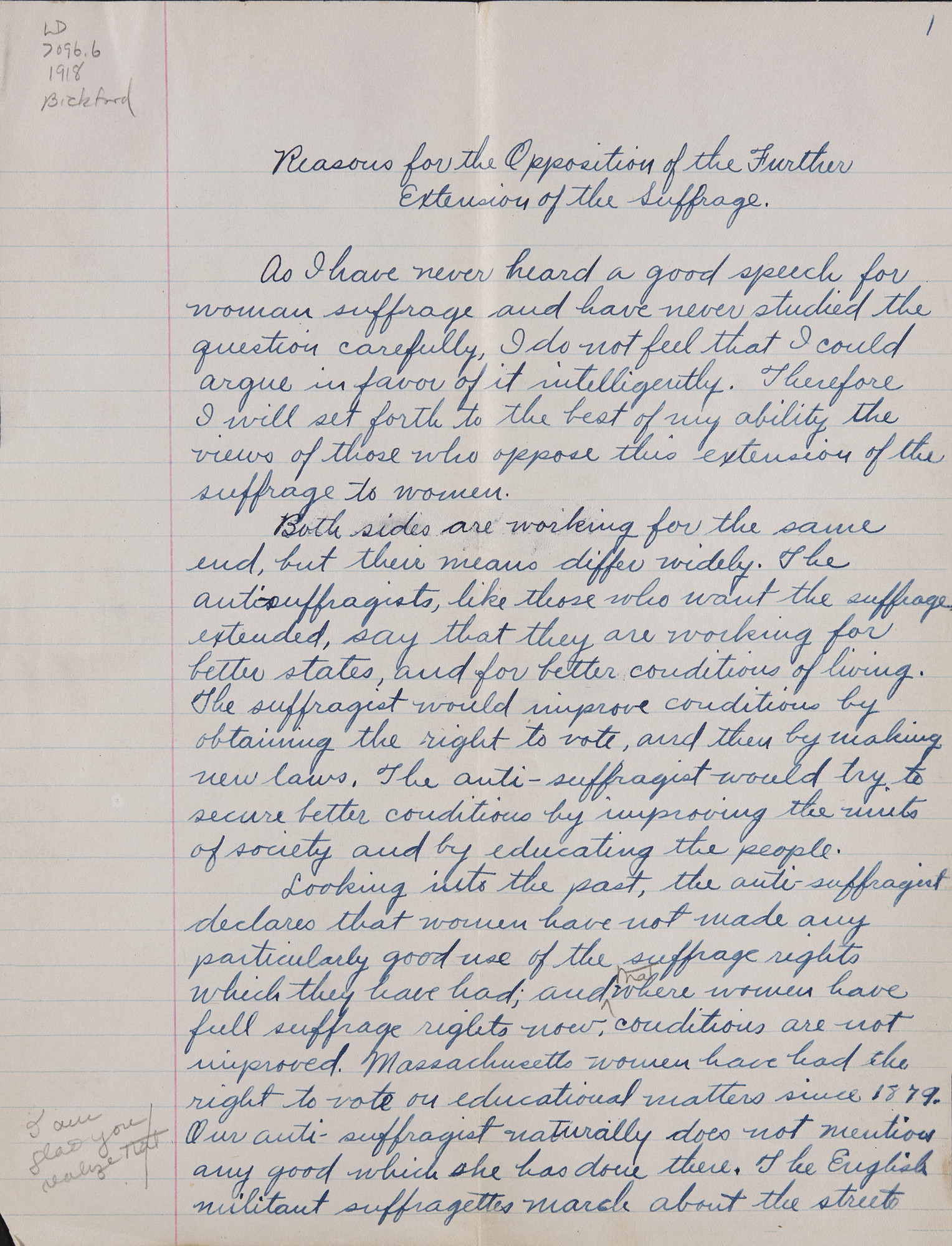 Jeannette Bickford, Class of 1918, Anti-Suffrage essay, November 13, 1914