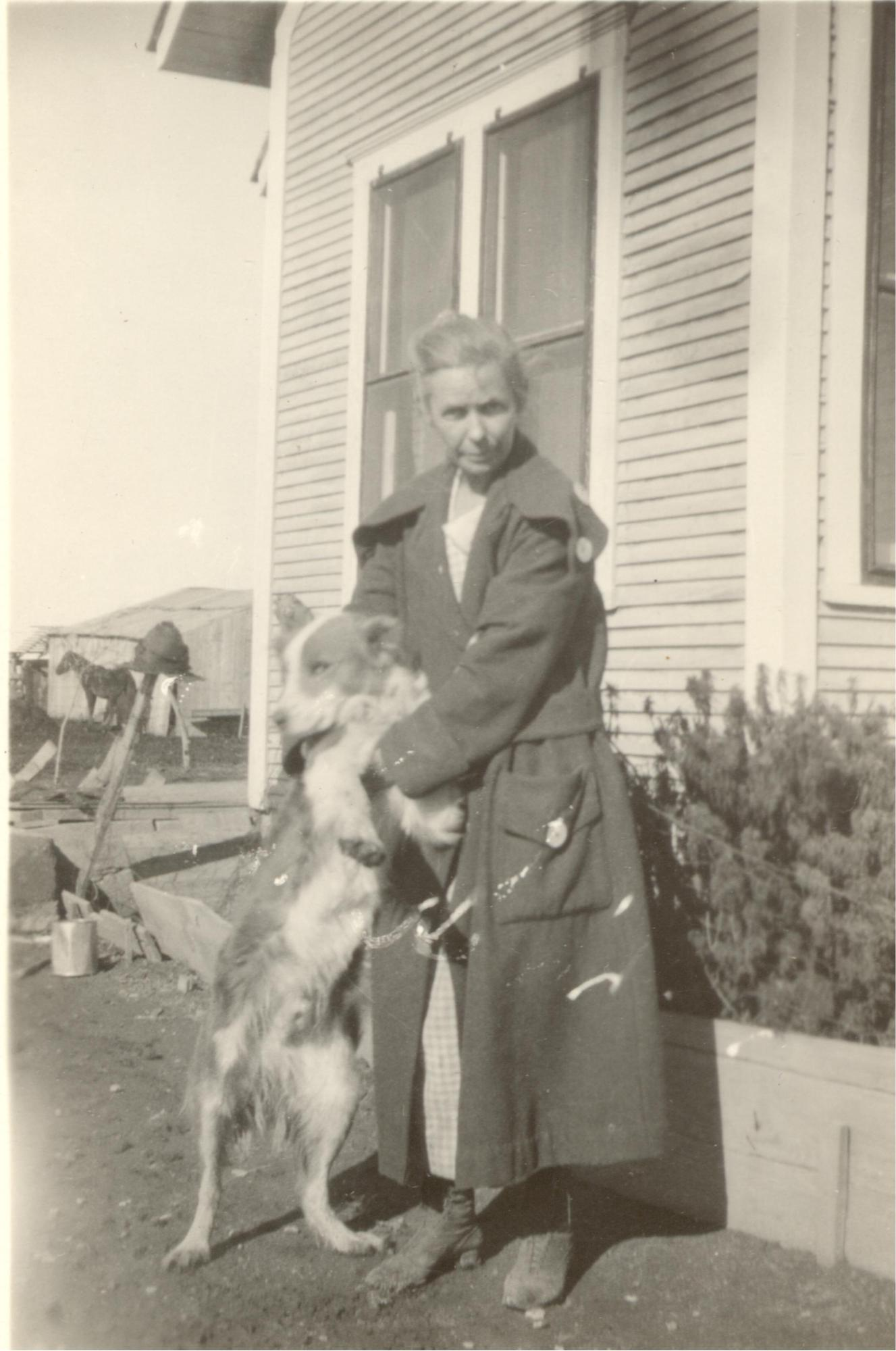 Caroline Henderson with her dog Jack, late 1930s