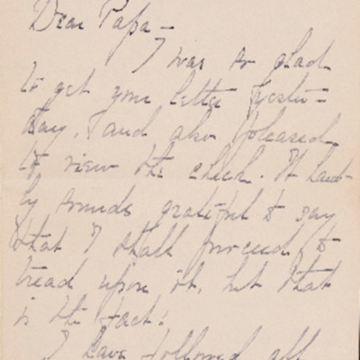Edith Packard, X Class of 1897, Letter to her Father, October 27, 1895