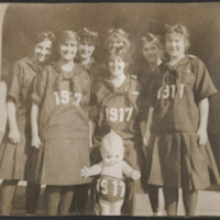 Students and Kewpie doll wear 1917 outfits