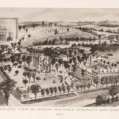A Bird's-eye view of Mount Holyoke Seminary and Grounds, 1887