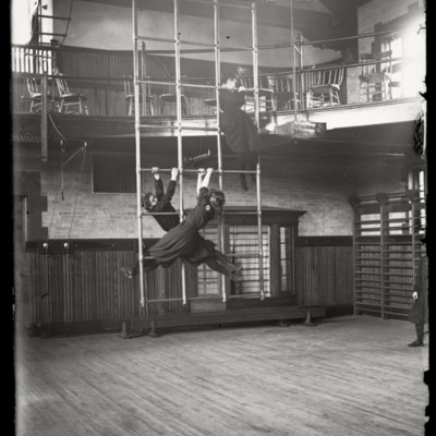 Physical Education : gym classes, Gymnasium interior (1900-1903), Miss Spore, Miss Wardwell, Miss Swenington