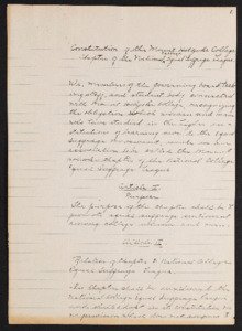 Constitution for the Mount Holyoke Chapter of the National College Equal Suffrage League, 1911