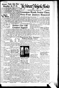 """""""Actions' Group Plans Service For Election Day,"""" The Mount Holyoke News, October 30, 1964<br />"""