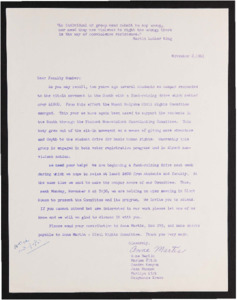 The Committee on Civil Rights Fundraising Letter, 1961